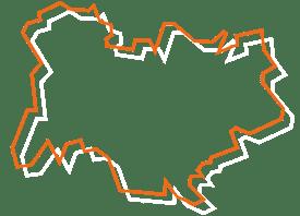 Map tracé orange et blanc de l'auvergne - Fédération des CSFC