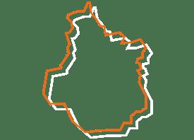 Map tracé orange et blanc de la région Centre Val de Loire - Fédération des CSFC