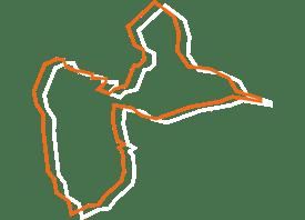Map tracé orange et blanc de lles de France - Fédération des CSFC