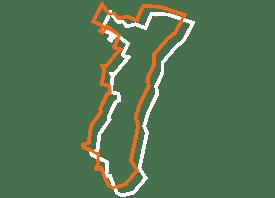 Map tracé orange et blanc de l'alsace - Fédération des CSFC