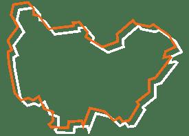 Map tracé orange et blanc de la Bourgogne - Fédération des CSFC