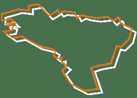 Map tracé orange et blanc de la Bretagne - Fédération des CSFC