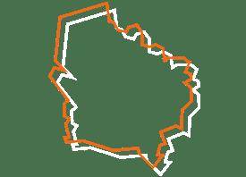 Map tracé orange et blanc de l'haut de France - Fédération des CSFC