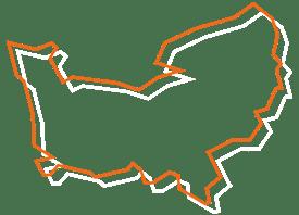 Map tracé orange et blanc de la Normandie - Fédération des CSFC