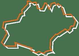 Map tracé orange et blanc de l'Occitanie - Fédération des CSFC