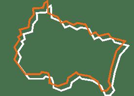 Map tracé orange et blanc de la région Grand Est - Fédération des CSFC
